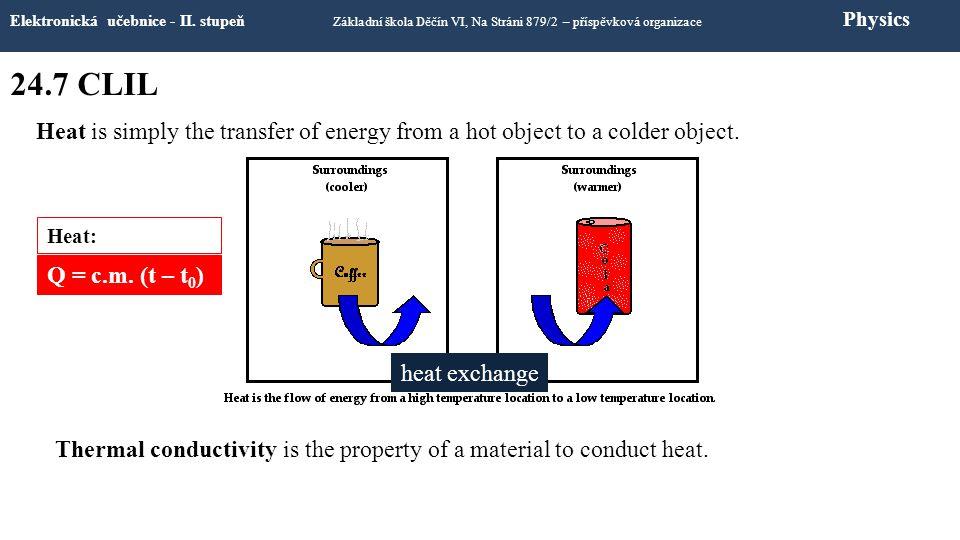 24.7 CLIL Elektronická učebnice - II. stupeň Základní škola Děčín VI, Na Stráni 879/2 – příspěvková organizace Physics Heat is simply the transfer of