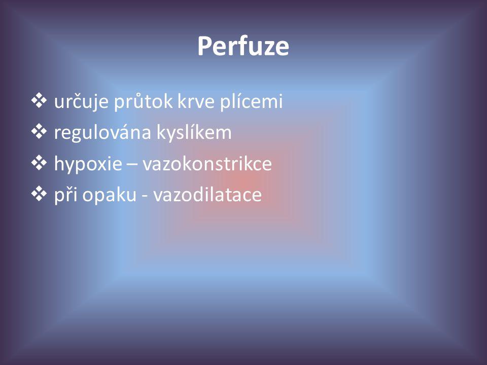 Perfuze  určuje průtok krve plícemi  regulována kyslíkem  hypoxie – vazokonstrikce  při opaku - vazodilatace