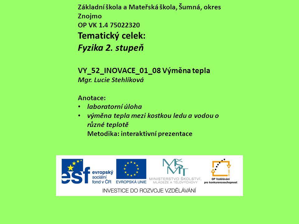 Základní škola a Mateřská škola, Šumná, okres Znojmo OP VK 1.4 75022320 Tematický celek: Fyzika 2.