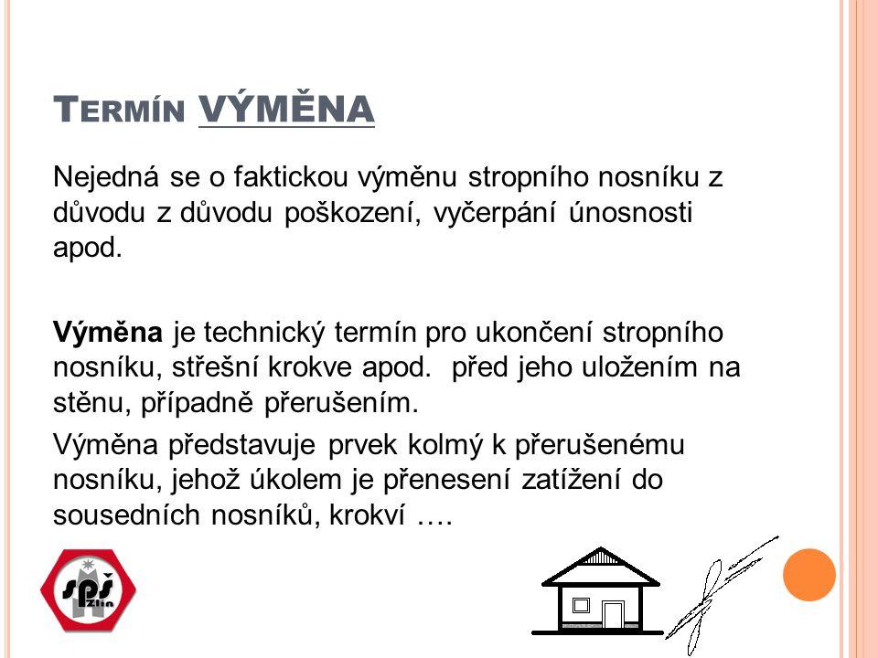 T ERMÍN VÝMĚNA Nejedná se o faktickou výměnu stropního nosníku z důvodu z důvodu poškození, vyčerpání únosnosti apod.