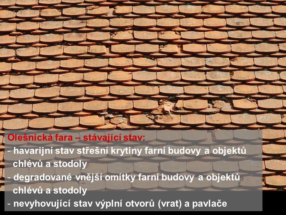 Olešnická fara – stávající stav: - havarijní stav střešní krytiny farní budovy a objektů chlévů a stodoly - degradované vnější omítky farní budovy a o