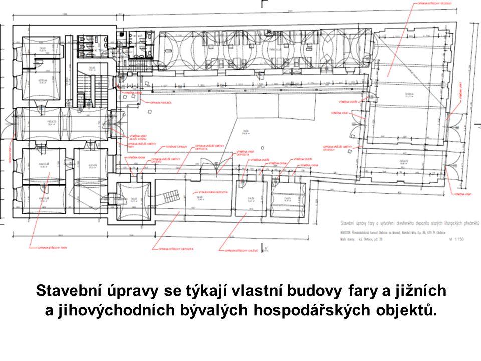 Stavební úpravy se týkají vlastní budovy fary a jižních a jihovýchodních bývalých hospodářských objektů.