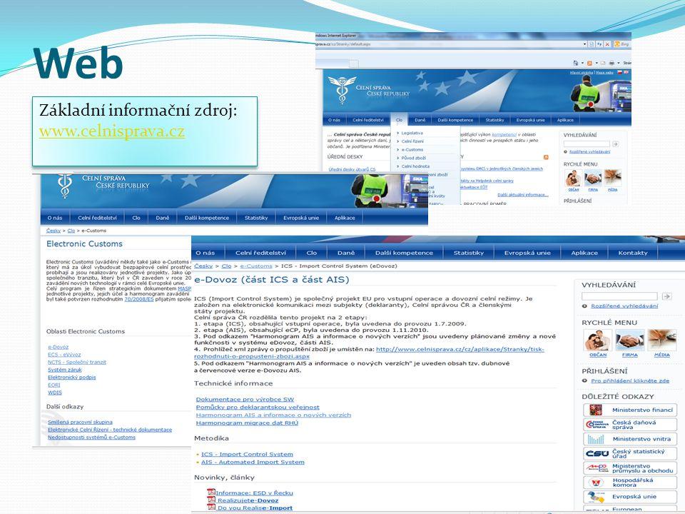 Web Základní informační zdroj: www.celnisprava.cz Základní informační zdroj: www.celnisprava.cz
