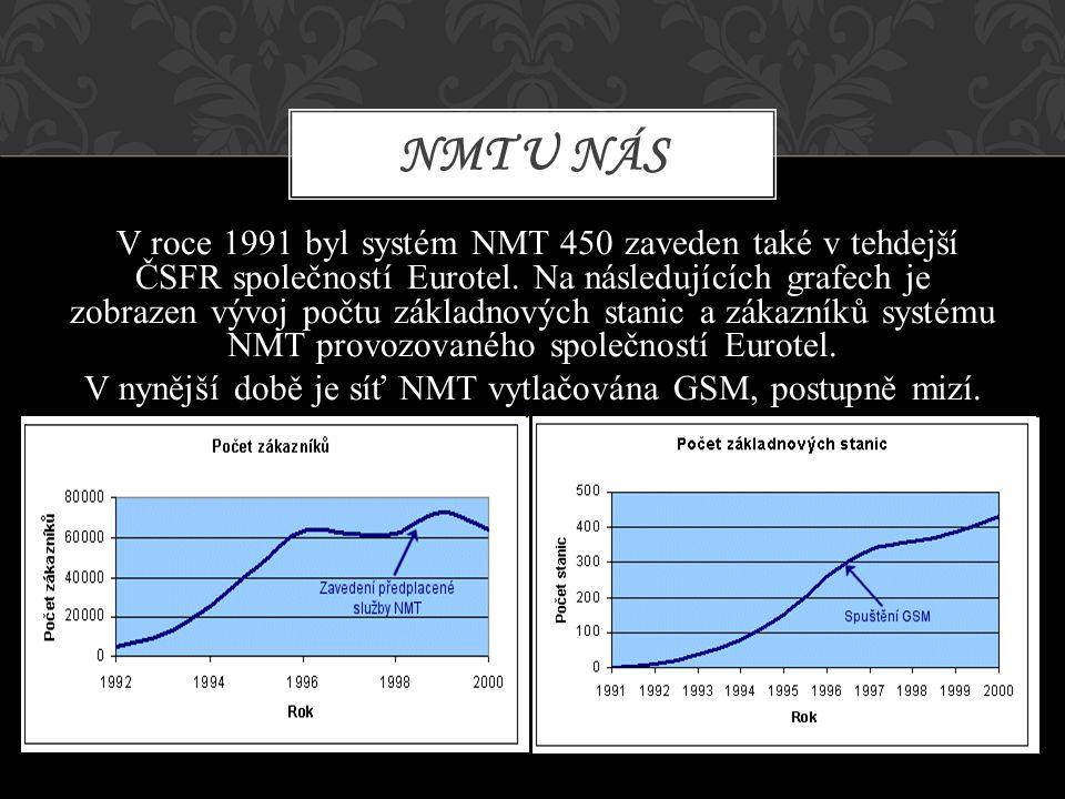 V roce 1991 byl systém NMT 450 zaveden také v tehdejší ČSFR společností Eurotel. Na následujících grafech je zobrazen vývoj počtu základnových stanic