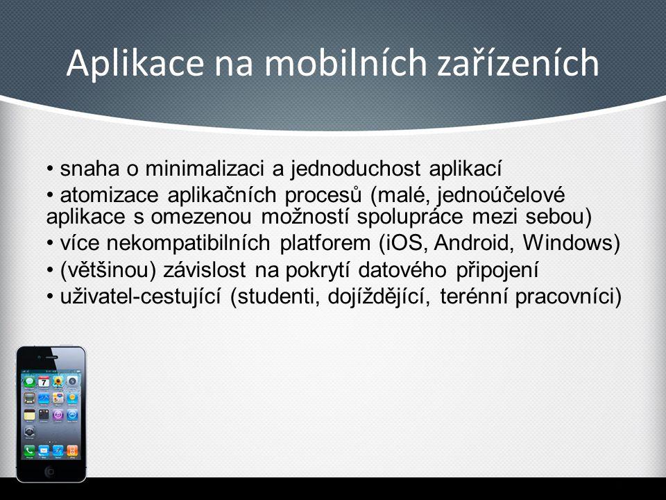 Aplikace na mobilních zařízeních snaha o minimalizaci a jednoduchost aplikací atomizace aplikačních procesů (malé, jednoúčelové aplikace s omezenou mo