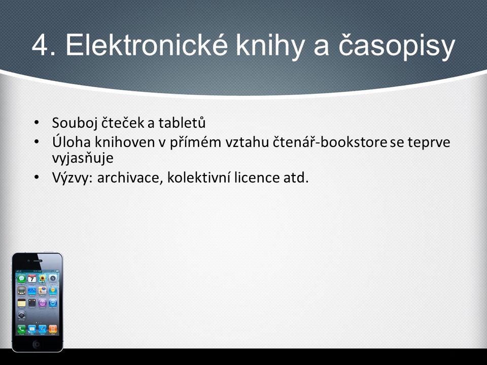 4. Elektronické knihy a časopisy Souboj čteček a tabletů Úloha knihoven v přímém vztahu čtenář-bookstore se teprve vyjasňuje Výzvy: archivace, kolekti
