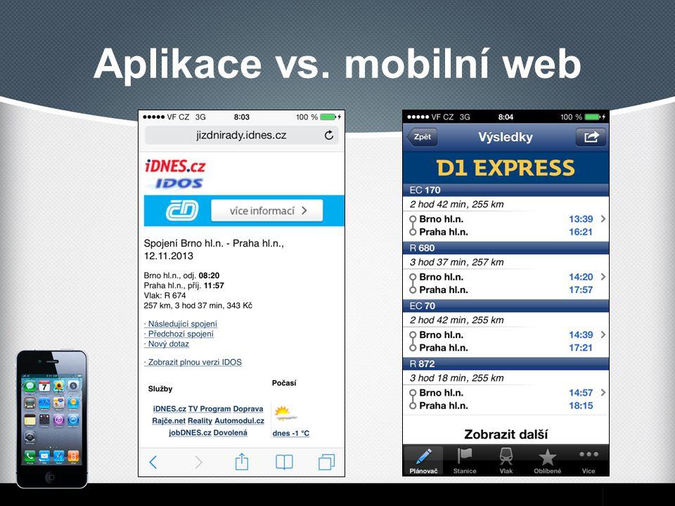 Aplikace vs. mobilní web
