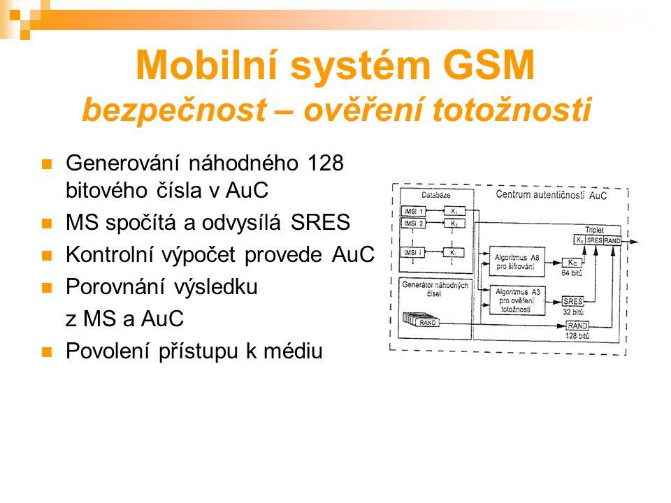 Mobilní systém GSM bezpečnost – anonymita Číslo IMSI – jednoznačná identifikace účastníka Číslo TMSI – dočasná identifikace účastníka