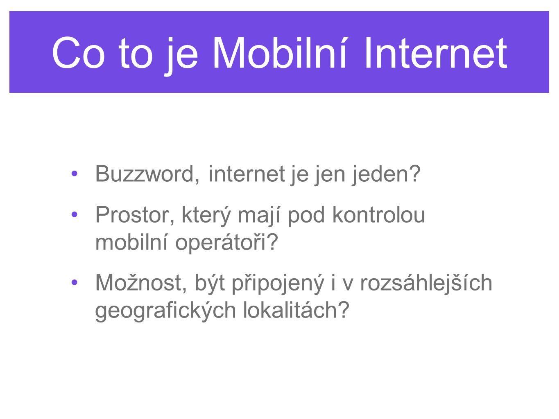 Co to je Mobilní Internet Buzzword, internet je jen jeden? Prostor, který mají pod kontrolou mobilní operátoři? Možnost, být připojený i v rozsáhlejší