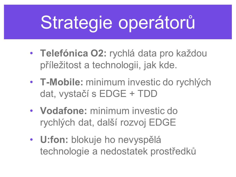 Strategie operátorů Telefónica O2: rychlá data pro každou příležitost a technologii, jak kde. T-Mobile: minimum investic do rychlých dat, vystačí s ED