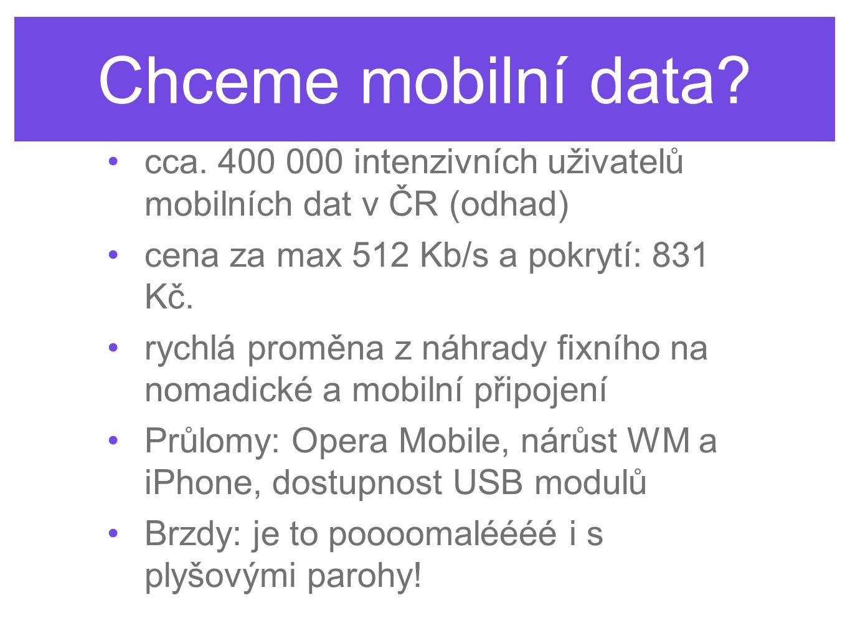 Chceme mobilní data? cca. 400 000 intenzivních uživatelů mobilních dat v ČR (odhad) cena za max 512 Kb/s a pokrytí: 831 Kč. rychlá proměna z náhrady f