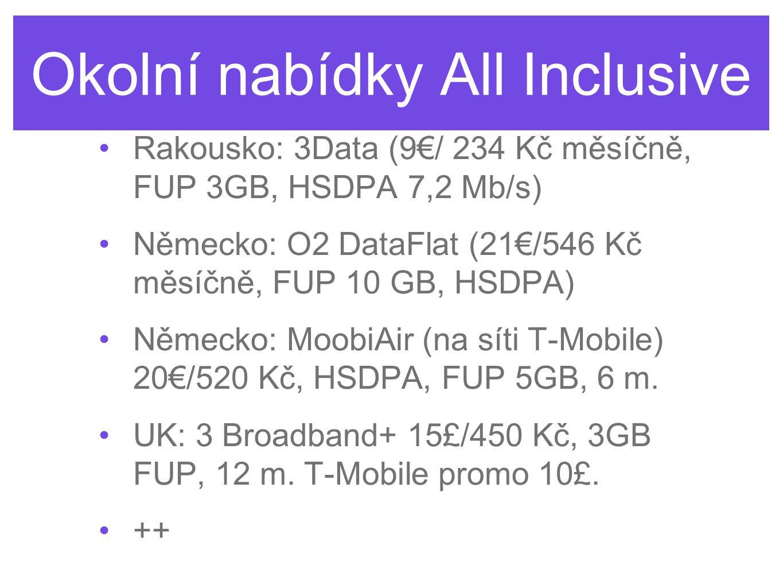 Okolní nabídky All Inclusive Rakousko: 3Data (9€/ 234 Kč měsíčně, FUP 3GB, HSDPA 7,2 Mb/s) Německo: O2 DataFlat (21€/546 Kč měsíčně, FUP 10 GB, HSDPA)