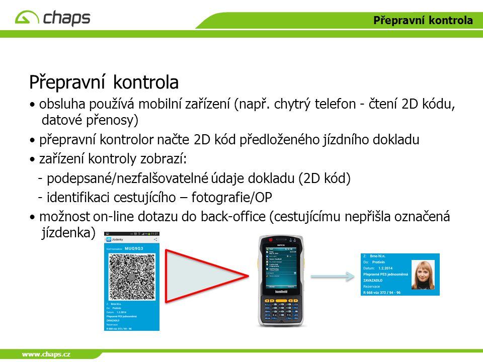 www.chaps.cz Přepravní kontrola obsluha používá mobilní zařízení (např. chytrý telefon - čtení 2D kódu, datové přenosy) přepravní kontrolor načte 2D k