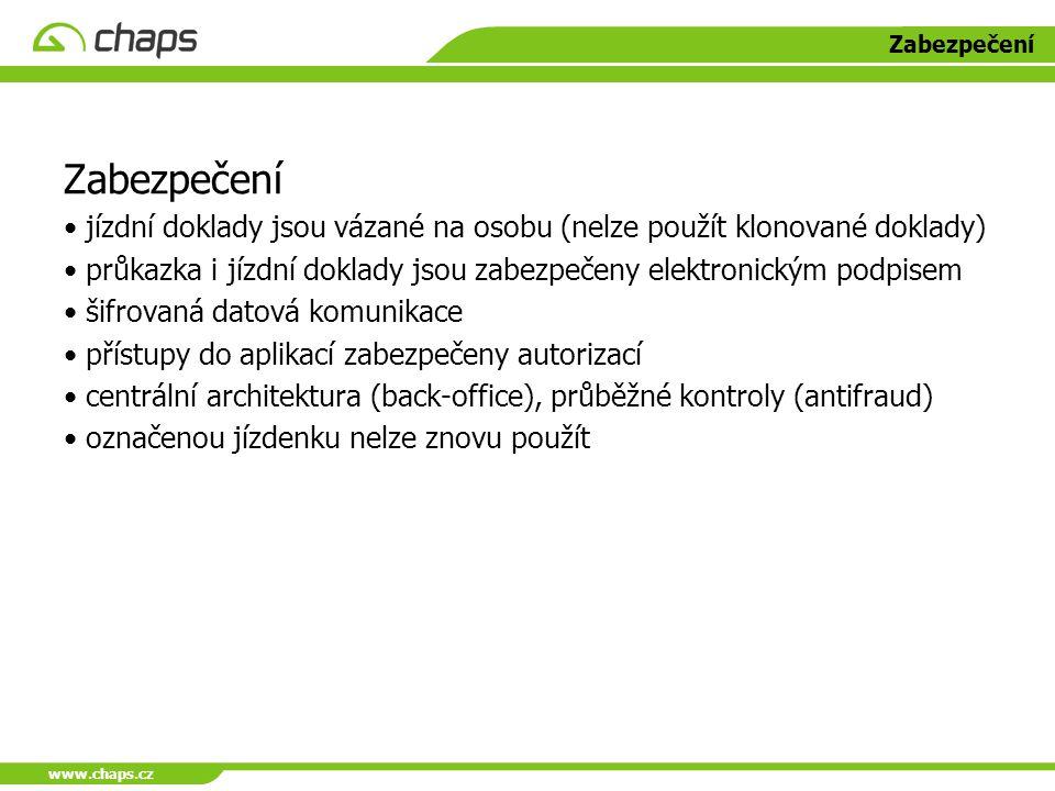 www.chaps.cz Zabezpečení jízdní doklady jsou vázané na osobu (nelze použít klonované doklady) průkazka i jízdní doklady jsou zabezpečeny elektronickým