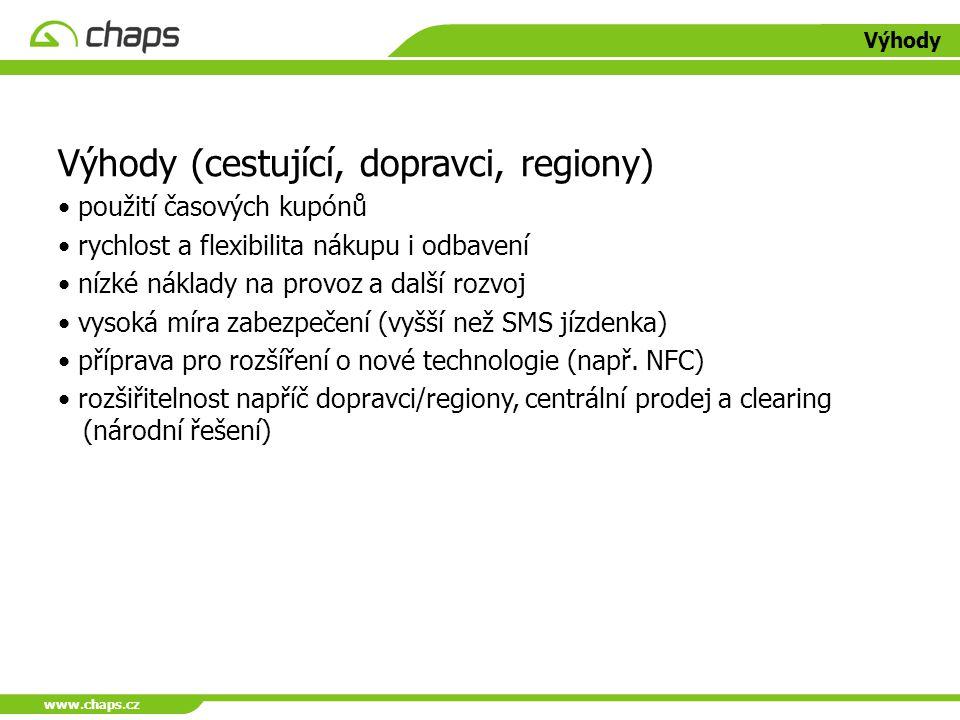 www.chaps.cz Výhody Výhody (cestující, dopravci, regiony) použití časových kupónů rychlost a flexibilita nákupu i odbavení nízké náklady na provoz a d