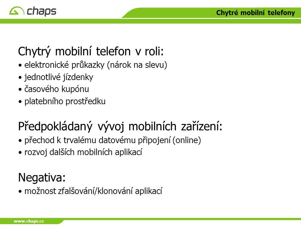 www.chaps.cz Chytré mobilní telefony Chytrý mobilní telefon v roli: elektronické průkazky (nárok na slevu) jednotlivé jízdenky časového kupónu platebn