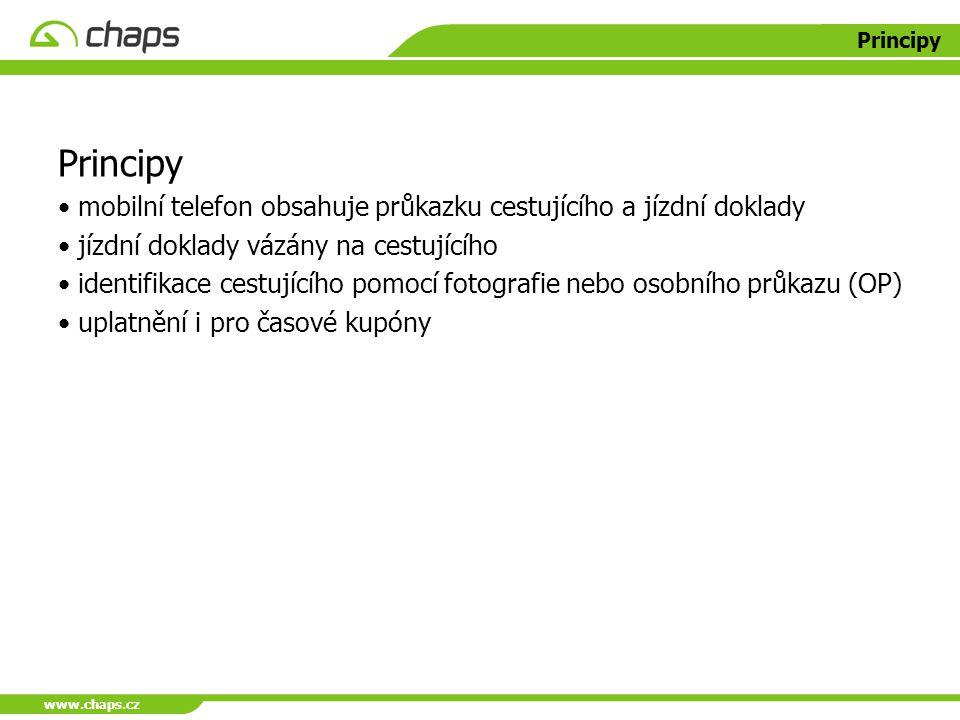 www.chaps.cz Principy mobilní telefon obsahuje průkazku cestujícího a jízdní doklady jízdní doklady vázány na cestujícího identifikace cestujícího pom