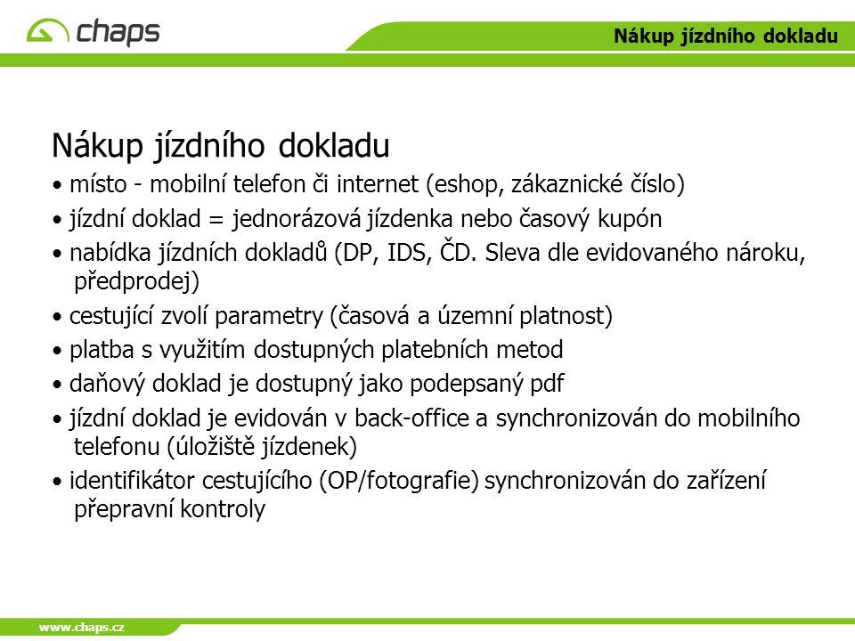 www.chaps.cz Nákup jízdního dokladu místo - mobilní telefon či internet (eshop, zákaznické číslo) jízdní doklad = jednorázová jízdenka nebo časový kup