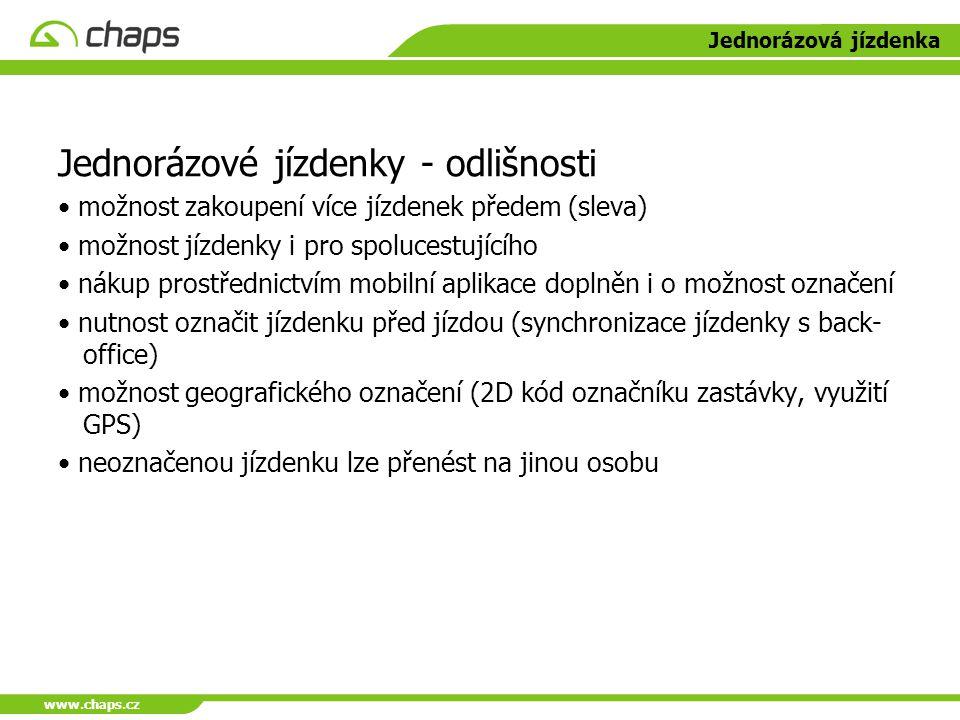www.chaps.cz Jednorázová jízdenka Jednorázové jízdenky - odlišnosti možnost zakoupení více jízdenek předem (sleva) možnost jízdenky i pro spolucestují