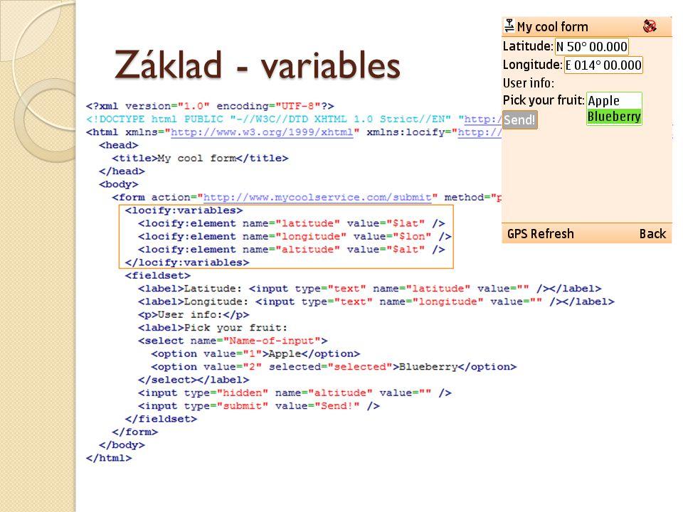 Základ - variables