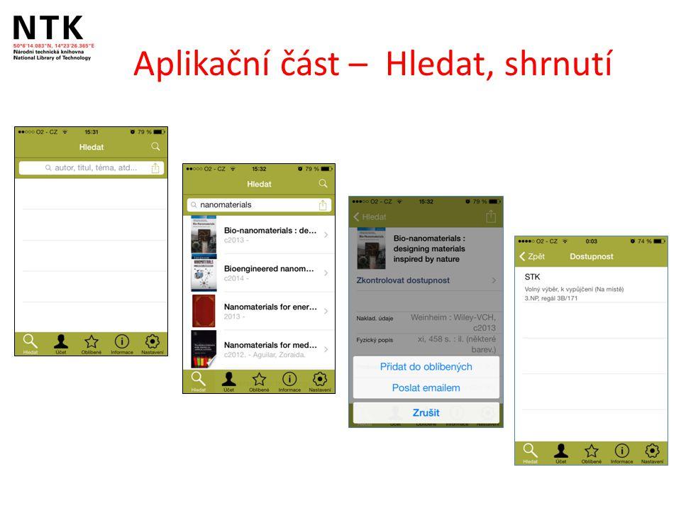Aplikační část – Hledat, shrnutí