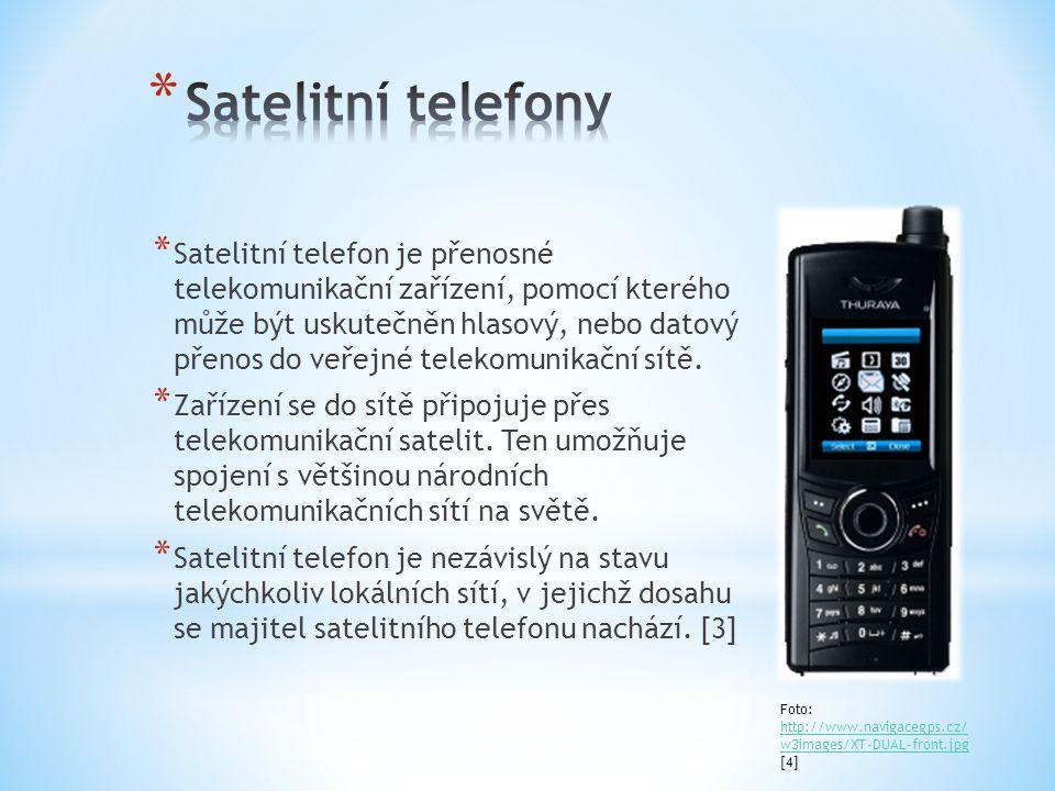 * Satelitní telefon je přenosné telekomunikační zařízení, pomocí kterého může být uskutečněn hlasový, nebo datový přenos do veřejné telekomunikační sítě.