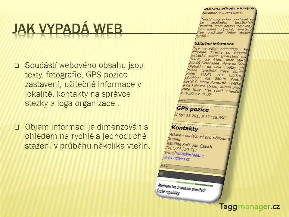  Součástí webového obsahu jsou texty, fotografie, GPS pozice zastavení, užitečné informace v lokalitě, kontakty na správce stezky a loga organizace.