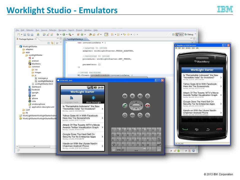 Feedback Management Worklight Studio - Emulators