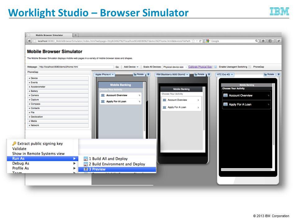 Feedback Management Worklight Studio – Browser Simulator