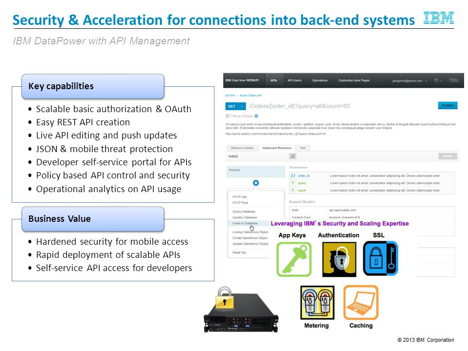 Security & Acceleration for connections into back-end systems Scalable basic authorization & OAuth Easy REST API creation Live API editing and push updates JSON & mobile threat protection Developer self-service portal for APIs Policy based API control and security Operational analytics on API usage Key capabilities Hardened security for mobile access Rapid deployment of scalable APIs Self-service API access for developers Business Value IBM DataPower with API Management