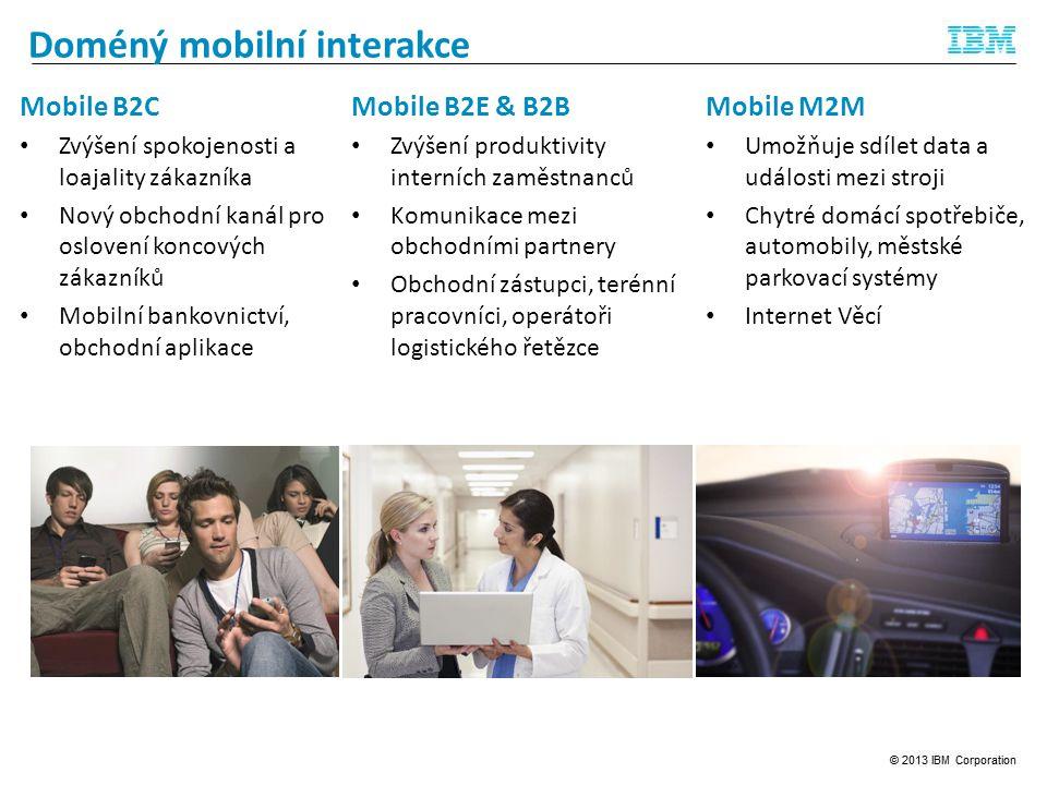 Doméný mobilní interakce Mobile B2C Zvýšení spokojenosti a loajality zákazníka Nový obchodní kanál pro oslovení koncových zákazníků Mobilní bankovnictví, obchodní aplikace Mobile B2E & B2B Zvýšení produktivity interních zaměstnanců Komunikace mezi obchodními partnery Obchodní zástupci, terénní pracovníci, operátoři logistického řetězce Mobile M2M Umožňuje sdílet data a události mezi stroji Chytré domácí spotřebiče, automobily, městské parkovací systémy Internet Věcí