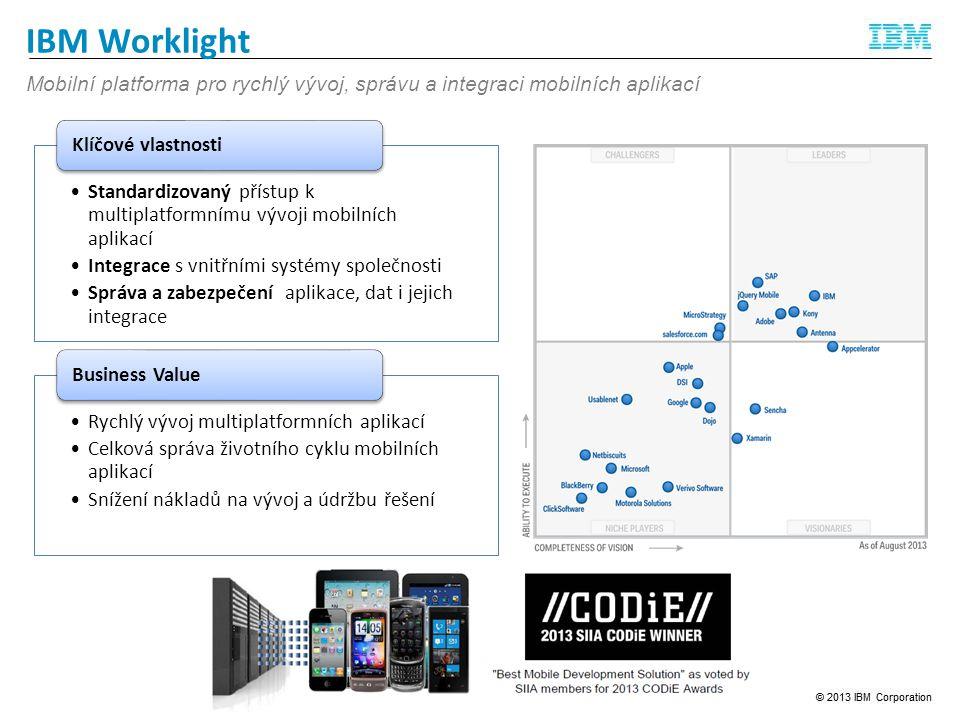 IBM Worklight Standardizovaný přístup k multiplatformnímu vývoji mobilních aplikací Integrace s vnitřními systémy společnosti Správa a zabezpečení aplikace, dat i jejich integrace Klíčové vlastnosti Rychlý vývoj multiplatformních aplikací Celková správa životního cyklu mobilních aplikací Snížení nákladů na vývoj a údržbu řešení Business Value Mobilní platforma pro rychlý vývoj, správu a integraci mobilních aplikací