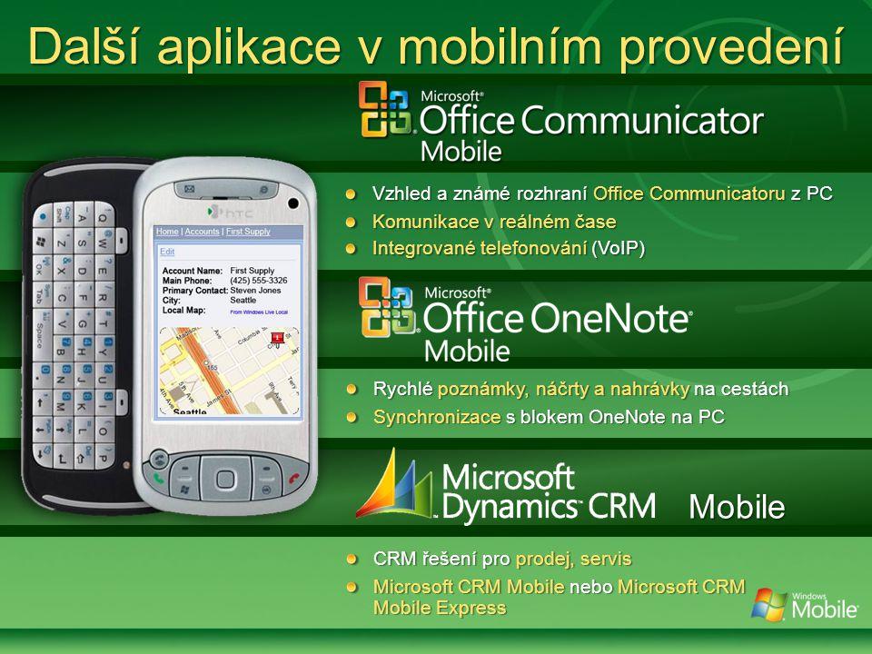 Vzhled a známé rozhraní Office Communicatoru z PC Komunikace v reálném čase Integrované telefonování (VoIP) Další aplikace v mobilním provedení Rychlé poznámky, náčrty a nahrávky na cestách Synchronizace s blokem OneNote na PC Mobile CRM řešení pro prodej, servis Microsoft CRM Mobile nebo Microsoft CRM Mobile Express