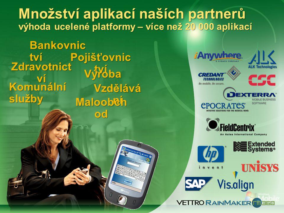 Bankovnic tví Pojišťovnic tví Zdravotnict ví Výroba Komunální služby Vzdělává ní Maloobch od Množství aplikací naších partnerů výhoda ucelené platformy – více než 20 000 aplikací
