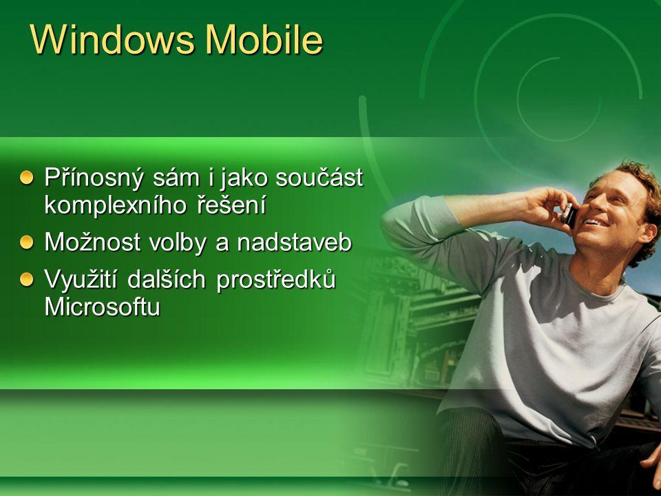 Přínosný sám i jako součást komplexního řešení Možnost volby a nadstaveb Využití dalších prostředků Microsoftu Windows Mobile