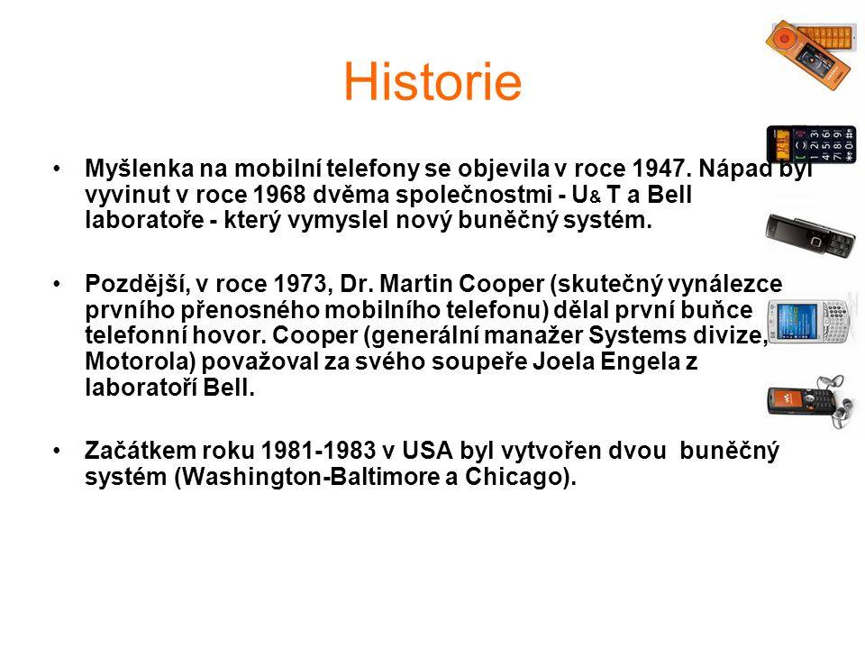 Historie Myšlenka na mobilní telefony se objevila v roce 1947.