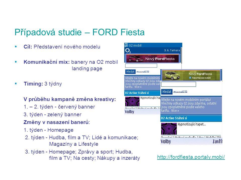  Cíl: Představení nového modelu  Komunikační mix: banery na O2 mobil landing page  Timing: 3 týdny V průběhu kampaně změna kreativy: 1.
