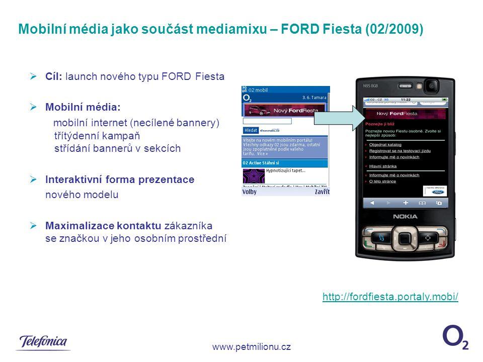  Cíl: launch nového typu FORD Fiesta  Mobilní média: mobilní internet (necílené bannery) třítýdenní kampaň střídání bannerů v sekcích  Interaktivní