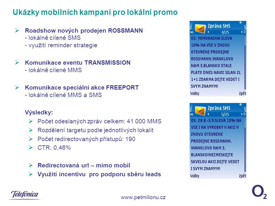  Roadshow nových prodejen ROSSMANN - lokálně cílené SMS - využití reminder strategie  Komunikace eventu TRANSMISSION - lokálně cílené MMS  Komunika