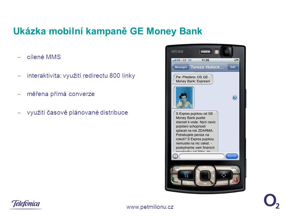  cílené MMS  interaktivita: využití redirectu 800 linky  měřena přímá converze  využití časově plánované distribuce Ukázka mobilní kampaně GE Mone