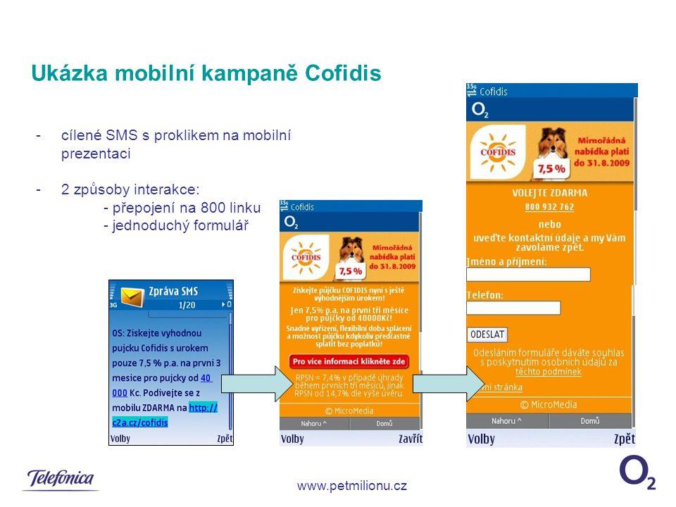 Ukázka mobilní kampaně Cofidis -cílené SMS s proklikem na mobilní prezentaci -2 způsoby interakce: - přepojení na 800 linku - jednoduchý formulář www.