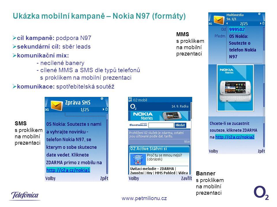 Ukázka mobilní kampaně – Nokia N97 (formáty)  cíl kampaně: podpora N97  sekundární cíl: sběr leads  komunikační mix: - necílené banery - cílené MMS