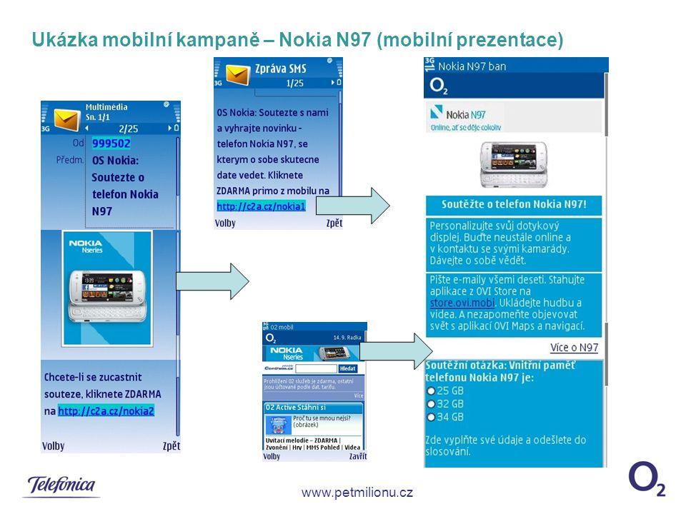 Ukázka mobilní kampaně – Nokia N97 (mobilní prezentace) www.petmilionu.cz