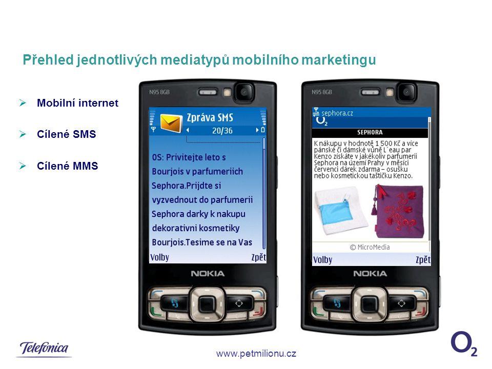 Přehled jednotlivých mediatypů mobilního marketingu  Mobilní internet  Cílené SMS  Cílené MMS www.petmilionu.cz
