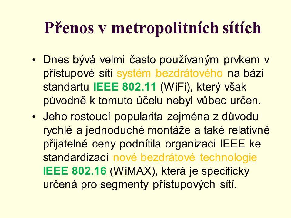 Přenos v metropolitních sítích Dnes bývá velmi často používaným prvkem v přístupové síti systém bezdrátového na bázi standartu IEEE 802.11 (WiFi), který však původně k tomuto účelu nebyl vůbec určen.