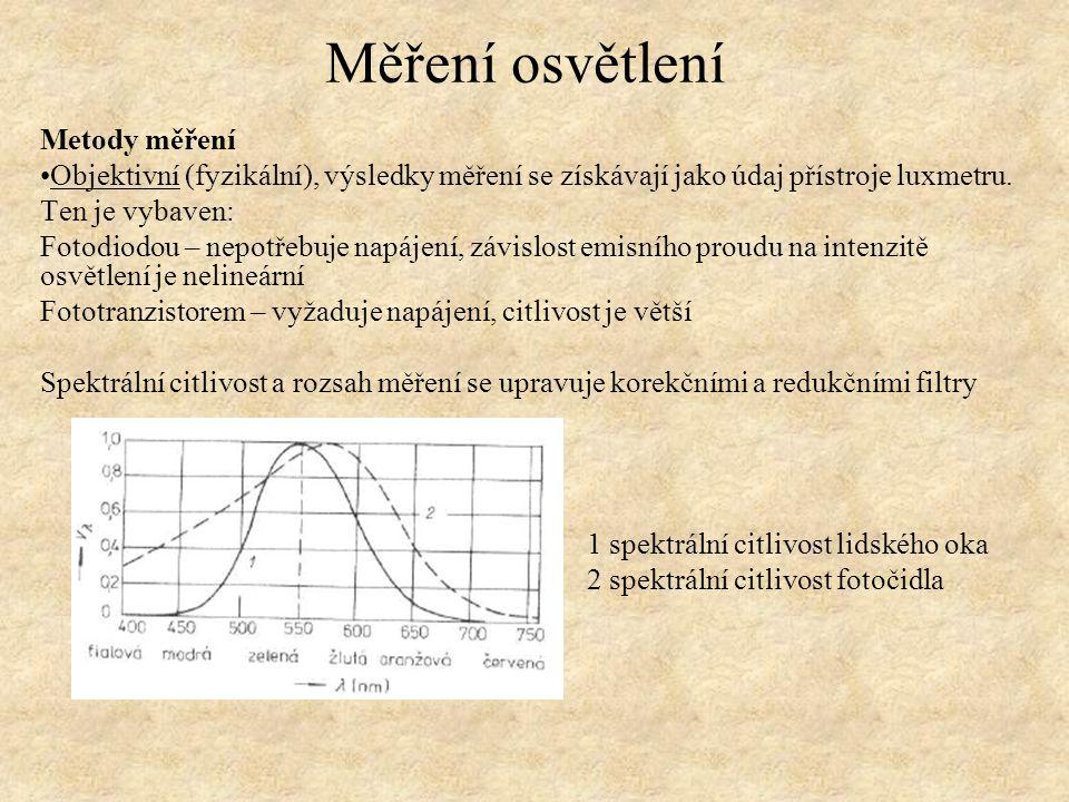 Metody měření Objektivní (fyzikální), výsledky měření se získávají jako údaj přístroje luxmetru. Ten je vybaven: Fotodiodou – nepotřebuje napájení, zá