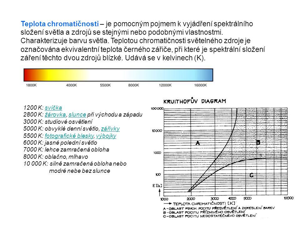 6 Teplota chromatičnosti – je pomocným pojmem k vyjádření spektrálního složení světla a zdrojů se stejnými nebo podobnými vlastnostmi. Charakterizuje