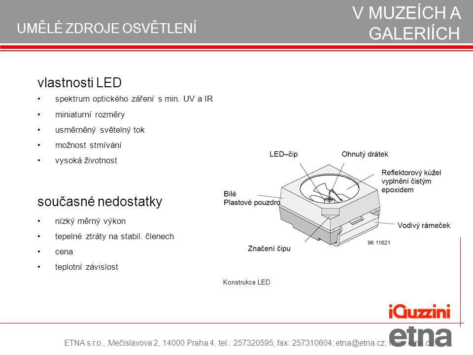 vlastnosti LED spektrum optického záření s min. UV a IR miniaturní rozměry usměrněný světelný tok možnost stmívání vysoká životnost současné nedostatk