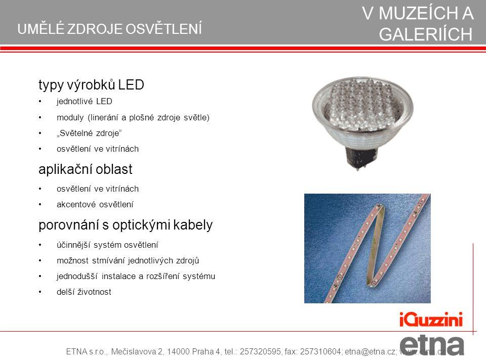 """typy výrobků LED jednotlivé LED moduly (linerání a plošné zdroje světle) """"Světelné zdroje"""" osvětlení ve vitrínách aplikační oblast osvětlení ve vitrín"""