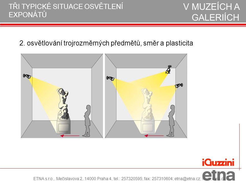2. osvětlování trojrozměrných předmětů, směr a plasticita NÁVRH OSVĚTLENÍ V MUZEÍCH A GALERIÍCH TŘI TYPICKÉ SITUACE OSVĚTLENÍ EXPONÁTŮ ETNA s.r.o., Me